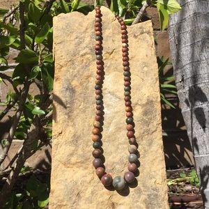Beaded Jasper Bead Necklace in earthy colors.